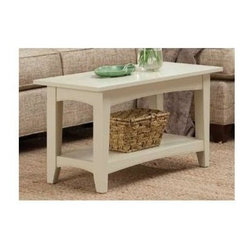Alaterre Furniture - Shaker Cottage Bench - Can be use as a bench or a coffee table. Made of composite wood. Assembly required. 1-Year warranty. 36 in. W x 14 in. D x 18 in. HThis Bench can be used in the mud room with the Coat Hook Storage, a simple bench under a window or as a Coffee Table in any Lifestyle setting. This unit is easy to assemble and sturdy. It includes a lower shelf for storage. It's a very nice Bench to sit and put on or remove your shoes.
