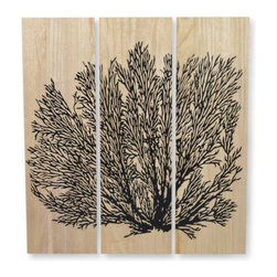 "Viva Terra - Sea Fan Wall Art - While many of us associate tung trees with the furniture oil produced from their seeds, in Asia wood from this fast-growing, deciduous tree is greatly admired for its density, texture, and durability. Our stately panels help explain why. Beautifully hand-carved, each lightweight panel hangs together to display the intricate pattern of sea fans emerging from a de-bossed surface. These panels bring the natural beauty of the sea into your home. Hooks attached. Three panels. 36""W x 1.75""D x 39.5""H"