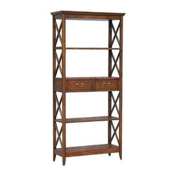 Wayborn - Eiffel Book Stand - 2 Drawers. 4 Shelves. Made from Birchwood. Smooth finish. 14.5 in. H between each shelf. 35.5 in. W x 14 in. D x 75 in. H (78 lbs.)