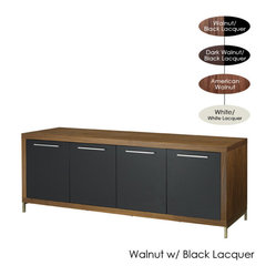 Nuevo Living - Silva Buffet, Walnut with Black Lacquer - Whether you're organizing your china or hiding your electronic equipment, this buffet is the chicest storage unit around. Pick from four modern finishes and then get started on filling its four compartments and shelves. The large top section is perfect for a small bar or for holding two statement lamps for an added design element.