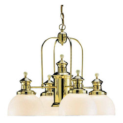 Volume Lighting - Volume Lighting V4915 Aberdeen 5 Light 1 Tier Chandelier - Three Light 1 Tier Chandelier from the Aberdeen CollectionStunning and superior, this 5 light chandelier features 1 tier and timeless polished brass finish.Features: