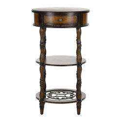 Safavieh - Suzanne Side Table - Inspired by the feminine flourishes of Art Nouveau, the Courtney Console offers a combination of graceful classic lines with its solid birch construction, delicate decorative details and curvaceous bronze-style scrolls.