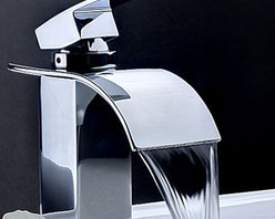 Waterfall Faucets - Contemporary Waterfall Bathroom Faucet -Chrome Finish--FaucetSuperDeal.com