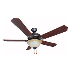 "Builder's Collection - Oil Rubbed Bronze 52"" Ceiling Fan w/ Light Kit - Motor Finish: Oil Rubbed Bronze"