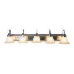 Premier - Five Light Lunar Bay 38 inch Strip Fixture - Brushed Nickel - AF Lighting 617343 38in. W by 8in. H by 9in. E Lunar Bay Lighting Collection Five Light Vanity Fixture, Brushed Nickel.