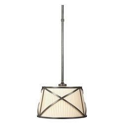 Grosvenor One-Light Downlight - This pendant is at once classic and contemporary. The metal accents and pleated shade are a winning combination, and there are several choices from polished nickel to antique brass to choose from.