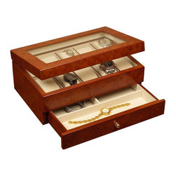 Mele & Co. - Peyton Watch Box - The carefully crafted Winston Watch Box in a  Burlwood Oak Finish makes an especially thoughtful gift!  A hand lined ivory suede-look fabric interior protects valuable watches and jewelry while the expansive glass viewing window in the lid provides an unobstructed view. * Clear viewing lid. Ten sections each with removable padded watch cushion. One drawer with three sections. Gold tone drawer pull. Hand lined in ivory sueded fabric. Burlwood finish. 11.63 in. W x 7.75 in. D x 4.75 in. HPeyton multiple watch jewelry box evokes a sense of class and charm.