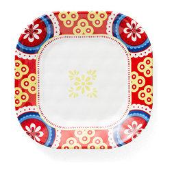 Q Squared NYC - Montecito Red Border Appetizer Plate - Transport your dining table to historical Montecito with the beautiful, vibrant colors of this collection, inspired by the intricate tiles and textures of the romantic city.