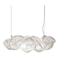 """BELUX - BELUX Cloud XL Suspension Light - The Cloud XL suspension lamp has been designed by Frank Gehry for Belux. This magnificent structure of a light provides a natural look and spectacular feel to any environment. Additionally, the Cloud XL pendant is UL listed. The maximum height for this fixture is adjustable up to 78 3/4"""" (200 cm). This fixture is available in a fluorescent version with either an on/off swithc or dimmable configuration.  Product Details:  The Cloud XL suspension lamp has been designed by Frank Gehry for Belux. This magnificent structure of a light provides a natural look and spectacular feel to any environment. Additionally, the Cloud XL pendant is UL listed. The maximum height for this fixture is adjustable up to 78 3/4"""" (200 cm). This fixture is available in a fluorescent version with either an on/off switch or dimmable configuration. Details:                         Manufacturer:             Belux                            Designer:                        Frank O. Gehry - 2005                                         Made in:                        Switzerland - special order item - not returnbale                                         Dimensions:                         Height: 22"""" (55 cm) X Width: 59"""" (150 cm) Max Height: 78 3/4"""" (200 cm)                                         Light bulb:                         2 X 21/39W T5 Fluorescent                                         Material:             metal, polyester fabric"""
