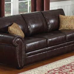 AC Pacific - Louis Sofa - Upholstered in 100% Polyester, Dark Brown Color. Brass Nail Head Tri. Seating Comfort: Medium. Seat Cushions attached. Back Cushions attached. Seating has heavy duty no sag springs with high density foam and Dacron fiber for added comfort. Our reinforced frames are built with selected hardwoods, glued and corner blocked for extra durability. . No Assembly Required. 89 in. L x 37 in. D x 38 in. H (122 lbs.)This elegant piece of living room furniture brings elegance and style to your home. Enjoy this luxurious sofa for years to come. Two decorative pillows included.