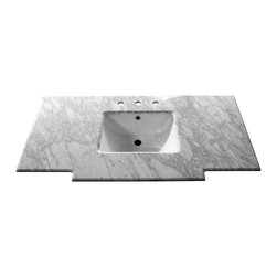 Bellaterra Home - 45 Inch White Carrera Marble Counter Top with Rectangular Sink - Transform your bathroom with Bellaterra's natural Carrera White Marble Vanity Top. Our solid marble top provides functional beauty for any bathroom and is polished and sealed with the highest quality. It is pre-drilled to accommodate most 8 in. widespread faucets. and pre-installed with 15 in rectangular white UPC undermount sinks.