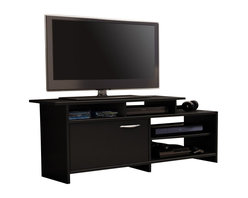 South Shore - South Shore Maddox Collection TV Stand in Pure Black - South Shore - TV Stands - 3107661C - This asymetrical TV stand will bring a trendy contemporary look to your living room. It offers both practical easy-access open storage and a closed storage compartment as well. Its neutral and trendy finish will easily blend right in with any decor._�