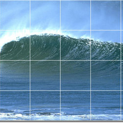 Picture-Tiles, LLC - Waves Photo Backsplash Tile Mural 11 - * MURAL SIZE: 32x48 inch tile mural using (24) 8x8 ceramic tiles-satin finish.