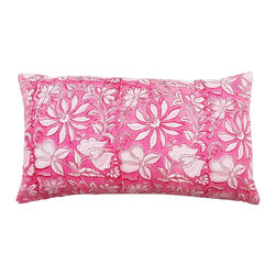5 Surry Lane - Pink Floral Indian Block Print Lumbar Pillow - The beautiful art of block printing employs wooden or metal blocks to print designs and patterns on fabric, by hand.  The design is handcarved onto the block, dipped into the required color, and then used to design the fabric.  We're crazy about this authentic Indian block print pillow.  Its' distinctive appeal will infuse your home with a global twist.  Reverses to solid.  Down feather insert included.  Hidden zipper closure.  Made in the USA.