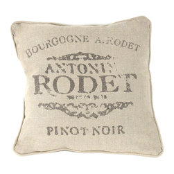 "Kathy Kuo Home - French Country Farm Stand ""Pinot Noir"" Throw Pillow - Add rustic style to your French country living room with this natural linen throw pillow. Even better - take a hint from the pillow's vintage print and relax against it, in your favorite chair, with a glass of pinot noir."