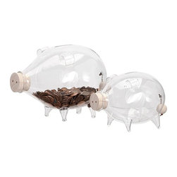 "IMAX - Fridley Glass Piggy Bank - Set of 2 - This little glass piggy with a wood stopper in her snout teams with her buddy to bank points for most whimsical decorating idea. Dimensions:(4.5-5.5""h x 6.25-8.75""w x 4.25-5.5"")"