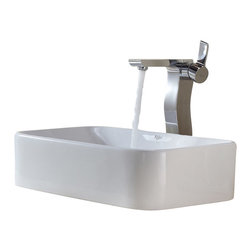 Kraus - Kraus C-KCV-122-14600CH White Rectangular Ceramic Sink and Sonus Faucet - Add a touch of elegance to your bathroom with a ceramic sink combo from Kraus