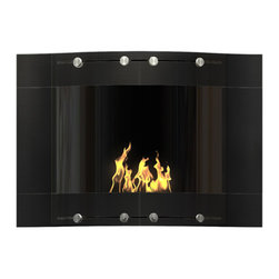 DecoFlame - Wave Modern Wall Mounted Ventless Ethanol Fireplace, Black - Wave provides a sophisticated and streamlined aesthetic to any space using its curved frame offered in stainless steel and black or white high-gloss enamel. This fireplace offers an eco-friendly flame that is odorless. Bio Ethanol, an alternative fuel source produced from plants, only emits water vapor and carbon dioxide into the air, therefore no chimney or flue is needed. Although ethanol fireplaces aren't intended for use as a primary heat source, the Wave model produces approximately 9,800 btu with the help of its stainless burner, which will change the noticeable temperature in a room of approximately 450 square feet. For aesthetic appeal and safety, this fireplace includes two tempered glass sliding doors that are situated in front of the flame. Appropriate for any modern or contemporary living space, Wave can be mounted on the wall using the included hardware.