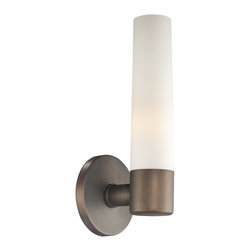 """George Kovacs - George Kovacs Bath Art Collection 12 1/2"""" High Wall Sconce - Illuminate your home with the soft warm glow of this gorgeous wall sconce. Painted copper bronze patina gives it a rich color. The cased etched opal glass column appears stately and grand. From George Kovacs. George Kovacs Bath Art Collection. Painted copper bronze patina accents. Cased etched opal glass. Takes one 60W T10 medium base bulb (not included). 4 3/4"""" wide. 12 1/2"""" high. Extends 4 3/4"""" from the wall.  Painted copper bronze patina accents.   Cased etched opal glass.   Design by George Kovacs.  Takes one 60W T10 medium base bulb (not included).   4 3/4"""" wide.   12 1/2"""" high.   Extends 4 3/4"""" from the wall."""