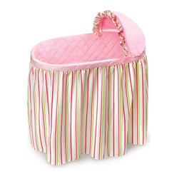 Badger Basket - Badger Basket Embrace Bassinet with Stripe & Pink Bedding Set - 00711 - Shop for Bassinets and Parts from Hayneedle.com! With gorgeous complementing stripes the Badger Basket Embrace Bassinet with Stripe & Pink Bedding Set is where you'll love watching your baby sleep peacefully while feeling safe and comfortable. Durably made this lovely bassinet has plastic legs and frame with metal hardware and a chipboard basket while the vinyl covered foam pad makes clean up easy should your little one have a leak in the middle of the night. The caster wheels makes moving the bassinet simple although you should never move the bassinet while your baby is inside. Complete with a skirt quilted liner sheet and hood cover your baby's bassinet will be ready for your baby when she arrives. Made from 100% cotton while the padding is the liner is 100% polyester filled the bedding is machine washable while the bassinet is easy to clean with a damp cloth. The bassinet is intended to be used with the included bedding and some assembly is required. Additional Features Caster wheels makes moving the bassinet simple Bedding features a lovely striped design Bedding set is 100% cotton Padding in liner is 100% polyester filled Bedding is machine washable Bassinet is easy to clean with a damp cloth Bassinet has plain walls Bassinet is intended to be used with bedding set Bassinet is made in the USA Some assembly required Badger Basket CompanyFor over 65 years Badger Basket Company has been a premier manufacturer of baskets bassinets bassinet bedding changing tables doll furniture hampers toy boxes and more for infants babies and children. Badger Basket Company creates beautiful and comfortable products that are continually updated and refreshed bringing you exciting new styles and fashions that complement the nostalgic and traditional products in the Badger Basket line.