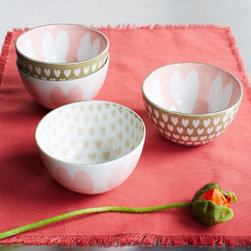 "Heart Pad-Printed Bowls - How sweet are these porcelain heart-printed bowls? I would love to serve up something sweet and delicious to my loved ones in them. They say ""I love you"" on the inside and on the outside."