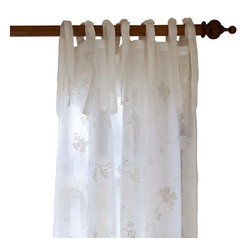 "Taylor Linens - Matilda White Linen Voile Curtain Panel - This sheer, linen voile curtain panel is embroidered with an all-over winding floral pattern. 100% Linen Voile. Machine Washable. White. 42""x84"""