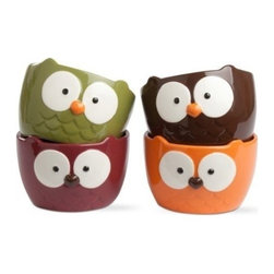 Tag - Oliver Owl Bowls - Set of 4, Multi Harvest by Tag - Our Oliver Owl Bowls serve up soup, cereal, and more in these adorable owl bowls. In an assortment of green, red, orange, and brown, they are made from hand-painted earthenware with embossed details. These versatile serving bowls will be loved by guests and family alike. Each holds 2.5 cups.