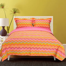 None - Orange ZigZag 3-piece Quilt Set - Brighten up any bedroom with the bold,citrus hues of this 100 percent cotton orange zigzag three-piece quilt set. The fun colors and modish pattern will look adorable in your little girl's room,and spills are no problem since it's machine washable.