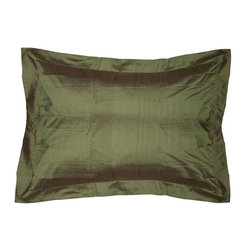 Used Basil Silk Standard Pillow Sham - Layering on the perfect pillow is the cherry on top for achieving an effortlessly styled effect in your room. This 100% silk sham is a luxurious accent to your bedroom. The insert is not included.  We have a few in stock, so please contact support@chairish.com to purchase more than one.