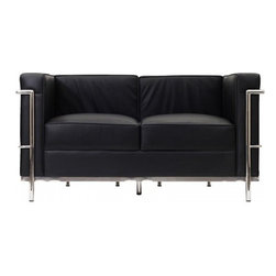 "Serenity Living Stores - Le Corbusier LC2 Style Loveseat - Italian Black - Our LC2 line reproduction was inspired by Le Corbusier's original design back in the 1920's. Charles-Edouard Jeanneret-Gris better known as Le Corbusier, introduced the LC2 line for two of his project ""The Maison la Roche in Paris� and pavilion for Barbara and Henry Church. Our LC2 furniture line is true to the original design; we offer superiors quality leathers and craftsmanship. A lot of reproduction companies out there use fake leather or vinyl on their products and lower grade steel which will bend and chip over time. We offer multiple colors on all of our products, and our stainless steel is hand polished to a mirror finish.                                                                                                                                                                                                                             Overall Dimensions: 26.4"" H x 51.2"" W x 27.5"" D"