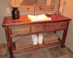 Rustic Furniture Portfolio - Reclaimed barn wood vanity