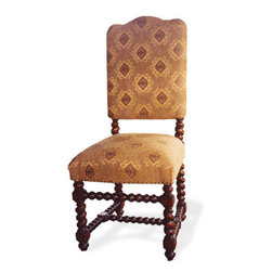 Peruvian Upholstered Side Chair, Light Mahogany Finish and Upholstered in Linen - Peruvian Upholstered Side Chair, Light Mahogany Finish and Upholstered in Linen