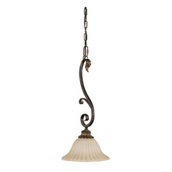 Murray Feiss - Murray Feiss Sonoma Valley Mini Pendant Light Fixture in Aged Tortoise Shell - Shown in picture: Sonoma Valley Pendant - Mini in aged Tortoise Shell finish with French Scarvo Glass Shade