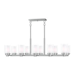 Livex Lighting - Brushed Nickel Manhattan 10 Light 1 Tier Linear Chandelier - Lamping Technology: