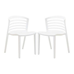 Modway - Curvy Dining Chairs Set of 2 in White - Indulge in no-frills, straightforward contemporary style with this modern multi-purpose chair. Made from heavy-duty molded plastic this chair was built to last. Eye catching and comfortable, this reproduction brings fashion and flavor to your space.