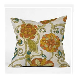 "DENY Designs - Valentina Ramos Orange Flowers Throw Pillow - Wanna transform a serious room into a fun, inviting space? Looking to complete a room full of solids with a unique print? Need to add a pop of color to your dull, lackluster space? Accomplish all of the above with one simple, yet powerful home accessory we like to call the DENY Throw Pillow! Features: -Valentina Ramos collection. -Color: Print. -Material: Woven polyester. -Sealed closure. -Spot treatment with mild detergent. -Made in the USA. -Closure: Concealed zipper with bun insert. -Small dimensions: 16"" H x 16"" W x 4"" D. -Medium dimensions: 18"" H x 18"" W x 5"" D. -Large dimensions: 20"" H x 20"" W x 6"" D. -Product weight: 3 lbs."