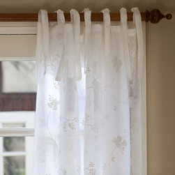"Taylor Linens - Matilda White Curtain Panel Linen Voile, 42""x84"" - This sheer, linen voile curtain panel is embroidered with an all-over winding floral pattern. 100% Linen Voile. Machine Washable. White. 42""x84"""