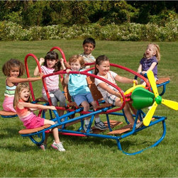 Swing Town - Swing Town Airplane Teeter Totter - 7 Seat - MA8300AII - Shop for Swings Slides and Gyms from Hayneedle.com! Your little one and six friends can take off on the Swing Town Airplane Teeter Totter - 7 Seat. A super-fun way to teeter totter with the whole crew this baby has a brightly colored airplane shape wooden seats and even a foam propeller. The paint is powder-coated for durability and the safety handholds are ultra strong.About Mid America Outdoor SupplyMaking outdoor fun for the whole family! The people of Mid America Outdoor Supply consists of outdoor enthusiasts with families who are constantly looking for ways to make outdoor experiences more exciting especially for children. From BBQ grills to imaginative play sets for the kids their goal is to give you and your loved ones a fun and relaxing way to spend quality time in the backyard. They strive to enhance the outdoor living experience and bring more fun to your family.