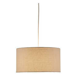 "Adesso - Adesso 4001-12 Natural Harvest Harvest 1 Light Drum Pendant - Adesso 4001 Harvest 1 Light Drum Pendant Adesso s new Harvest collection consists of hardback fabric pendants in three shapes. Each pendant is available in a natural or flax-colored linen weave, or a wheat-colored burlap fabric to fit the personality of your home. Included; 15  white portable cord set with socket and hanging apparatus. Adesso 4001 Features:  Line switch near the plug  Adesso 4001 Specifications:  Bulb Type: Incandescent or Fluorescent Bulb Base: Medium Wire Length: 180"" Wattage: 150W Shade Diameter: 15"" Shade Height: 8""    About Adesso Adesso was established in 1994, with the vision and belief that consumers who sought high-end contemporary home products at affordable prices would be able to do so.  Adesso has been able to redefine residential spaces with its innovative, well-designed and well priced products. They have integrated an array of colors and materials in the design of their products to include renewable bamboo, cork, glass, resin, woven fabric, rice-paper and even metals.  Adesso is shaping the future of home design and they're driven by the simple idea that your home is a canvas."