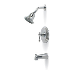 Premier - Charlestown Single-Handle Tub and Shower Faucet - Chrome - Single Lever Handle Tub & Shower Faucet Chrome Plated Finish Ceramic Cartridge Metal Escutcheon Pressure Balancing Features: Single metal lever handle. Pressure balancing valve with integral stops. Ceramic cartridge, brass shower arm, stainless steel escutcheon and shower arm. 1/2in. IPS connections. Self-cleaning shower head.