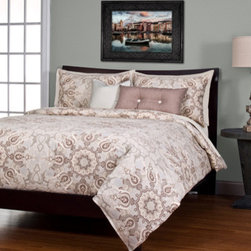 Siscovers - Paddington Tan Six Piece Queen Duvet Set - - A contemporary twist on a traditional Moorish design in a color scheme of muted earth tones  - Set Includes: Duvet - 94x98, Two Queen Shams - 30x20, One Decorative Pillow - 16x16, One Decorative Pillow - 26x14  - Workmanship and materials for the life of the product. SIScovers cannot be responsible for normal fabric wear, sun damage, or damage caused by misuse  - Reversible Duvet and Shams  - Care Instructions: Machine Wash  - Made in USA of Fabric made in China Siscovers - PADD-XDUQN6