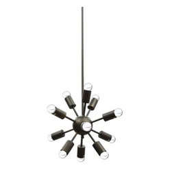 Baxton Studio - Clewell Small Starburst Modern Pendant Lamp - Perfect for a dining area but equally radiant in an entryway or bedroom, the Clewell Pendant Light Fixture shoots for the stars.