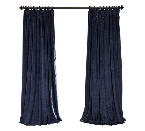 Exclusive Fabrics & Furnishings, LLC - Signature Midnight Blue Doublewide Blackout Velvet Curtain - 100% Poly Velvet. 3 Pole Pocket. Plush Blackout Lining. Imported. Dry Clean Only.