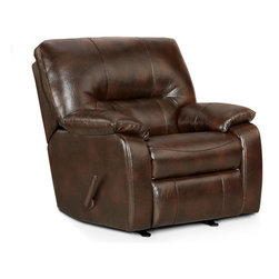Chelsea Home Furniture - Chelsea Home Furniture Rita Chaise Rocker Recliner Multicolor - 192330-CC - Shop for Recliners from Hayneedle.com! Refined for outstanding comfort the Chelsea Home Furniture Rita Chaise Rocker Recliner adds a rich luxurious complement to any room. This versatile chair features faux leather upholstery in chocolate over thick padding. Enjoy ultimate relaxation as you gently rock or recline. A sturdy frame and quality mechanics makes this a lasting addition to your living space.About Chelsea Home FurnitureProviding home elegance in upholstery products such as recliners stationary upholstery leather and accent furniture including chairs chaises and benches is the most important part of Chelsea Home Furniture's operations. Bringing high quality classic and traditional designs that remain fresh for generations to customers' homes is no burden but a love for hospitality and home beauty. The majority of Chelsea Home Furniture's products are made in the USA while all are sought after throughout the industry and will remain a staple in home furnishings.