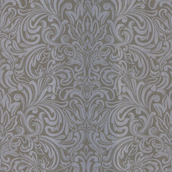 Kenneth James - Salon Wavy Damask Wallpaper - What could be more luxurious than silver damask? This luminous nonwoven wallpaper will make your walls gleam with elegance.
