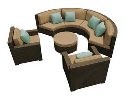 Forever Patio - Hampton Radius 5 Piece Outdoor Sectional Set, Chocolate Wicker and Tan Cushions - The Forever Patio Hampton Radius 5 Piece Outdoor Rattan Sectional Set with Tan Sunbrella cushions (SKU FP-HAMR-5SEC-CH-BE) creates a stylish outdoor lounge that is sure to enhance the function and look of any patio area. The set seats 6 to 7 adults comfortably, and features Chocolate resin wicker, which is made from High-Density Polyethylene (HDPE) for outdoor use. Each strand of this outdoor wicker is infused with the rich color and UV-inhibitors that prevent cracking, chipping and fading ordinarily caused by sunlight, surpassing the quality of natural rattan. Each piece features thick-gauged, powder-coated aluminum frames that make this modern round sofa set extremely durable. Also included with the set are fade- and mildew-resistant Sunbrella cushions. These plush cushions and generously sized seats create a curved patio sofa that rivals the comfort of an indoor sectional.