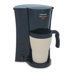 Applica - Black and Decker Brew 'n Go Personal Coffeema - Includes stainless steel durable mug, lid, filter basket and permanent filter on top-rack. Insulated 15-ounce durable tapered and contoured mug. Easy-grip handle. Brew-thru lid for easy to drink. Power light with automatic shut-off. Convenient one-touch operation. Dishwasher-safe. Watts: 800. Warranty: Two yearsAn ideal coffeemaker for an active, on-the-go lifestyle! Your coffee brews directly into a 15-oz.