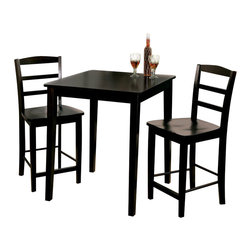International Concepts - International Concepts 3 Piece Gathering Height Dinette Set in Black - International Concepts - Dinette Sets - K463030S4022 - This amazing timeless set comes with 30x30 table and two simple in and versatile Madrid dining chairs. This set will add style to your kitchen or dining room without disrupting the flow of your decor. Each piece being constructed from solid wood ensures that this set will last through a lifetime of service