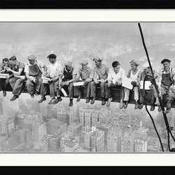 Amanti Art - Lunch on a Skyscraper, 1932 Framed Print by Charles C. Ebbets - You might not be caught dead enjoying a meal high above the sky scrapers, but you can surely appreciate the work being done here. This iconic image from 1932 will stand as a lasting tribute to the workers who bravely built our tallest buildings. Let its bold imagery steal the show in your living room or office.