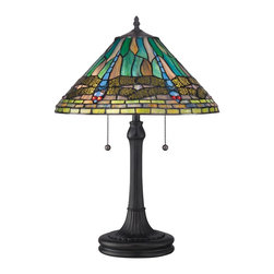 Quoizel Lighting - Quoizel Lighting TF1508TVB Tiffany 24 Height 2 Light Table Lamp With Pull Chain - For over seventy years, Quoizel lighting has been dedicated to the design and production of its diversified line of fine lighting products and home accessories.